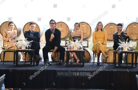 Jessica Barden, Dean-Charles Chapman, Jacob Elordi, Kelsey Chow, Liana Liberato, Mena Massoud, Miki Cunat and Brian Cunat attend the Rising Star Showcase held at Materra Cunat Family Vineyards at the Napa Valley Film Festival, Napa, CA @NapaFilmFest #NVFF19