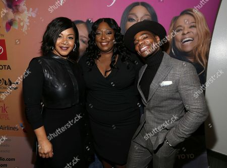 Erica Atkins, Loni Love and Kirk Franklin