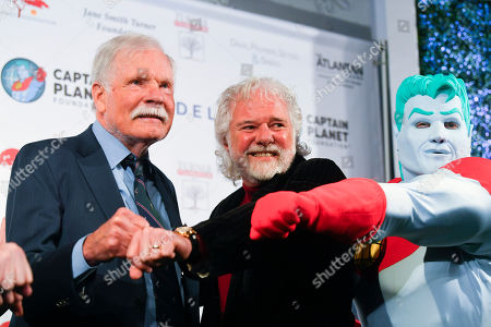 """Stock Photo of Ted Turner, Chuck Leavell. Philanthropist Ted Turner, left, musician Chuck Leavell, and """"Captain Planet"""" gather at Captain Planet Foundation's Annual Benefit Gala at Flourish Atlanta, in Atlanta"""