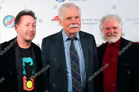 Ted Turner, Julian Lennon, Chuck Leavell. Julian Lennon, left, Ted Turner, and musician Chuck Leavell, right, gather at Captain Planet Foundation's Annual Benefit Gala at Flourish Atlanta, in Atlanta