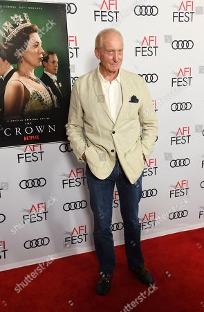 """Charles Dance, a cast member in the Netflix series """"The Crown,"""" poses at a gala screening of the show at the 2019 AFI Fest at the TCL Chinese Theatre, in Los Angeles"""