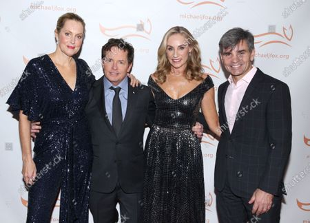Stock Picture of Alexandra Wentworth, Michael J Fox, Tracy Pollan and George Stephanopoulos