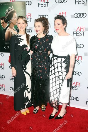 Erin Doherty, Helena Bonham Carter and Olivia Coleman arrive at the AFI Fest red carpet for the 'The Crown' premiere at TCL Chinese Theatre in Hollywood, California, USA, 16 November 2019. Season three of â??The Crown starts airing on 17 November.
