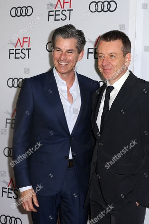 English actor Josh O'Connor (L) and British film writer Peter Morgan (R) arrive at the AFI Fest red carpet for the 'The Crown' premiere at TCL Chinese Theatre in Hollywood, California, USA, 16 November 2019. Season three of The Crown starts airing on 17 November.