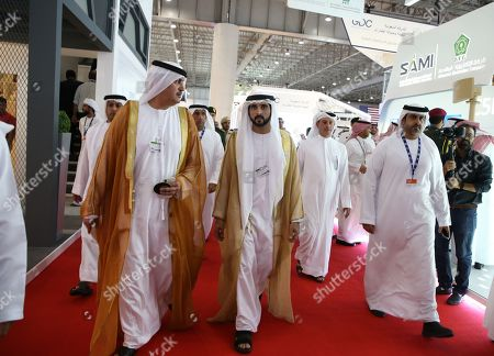 Sheikh Hamdan bin Mohammed bin Rashid Al Maktoum (C), Crown Prince of Dubai, attends the Dubai Airshow 2019 at Al Maktoum International Airport in Jebel Ali, Dubai, United Arab Emirates, 17 November 2019. The airshow will run from 17 November to 21 November 2019.