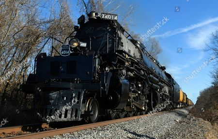 Stock Picture of The Union Pacific's historic Big Boy steam locomotive No. 4014 travels through Oologah, Okla., . The locomotive is touring through the Union Pacific system in 2019 to commemorate the transcontinental railroad's 150th anniversary