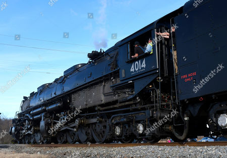 Stock Photo of The Union Pacific's historic Big Boy steam locomotive No. 4014 travels through Oologah, Okla., . The locomotive is touring through the Union Pacific system in 2019 to commemorate the transcontinental railroad's 150th anniversary