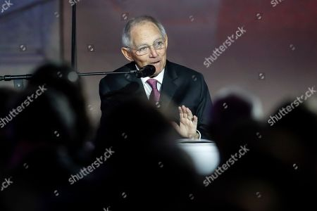 Stock Image of German Bundestag President Wolfgang Schauble delivers a speech at the National Museum in Prague, Czech Republic, during an event marking the 30th anniversary of the pro-democratic Velvet Revolution that ended communist rule in 1989