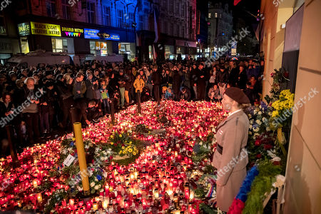 People light candles as they gather at the memorial to students who were attacked by riot police in 1989 on Narodni street, marking the 30th anniversary of the Velvet Revolution in Prague, Czech Republic, 17 November 2019. The Czech Republic celebrates the 30th anniversary of the Velvet Revolution commemorating the events of 17 November 1989, when after the brutal suppression of a student demonstration at Narodni street, the communist leadership soon crumbled and the playwright and human rights activist Vaclav Havel became president shortly thereafter.