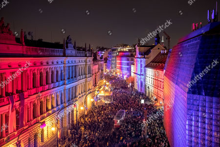 A general view on the illuminated Narodni street in national colours where students weere attacked by riot police in 1989 on the 30th anniversary of the Velvet Revolution in Prague, Czech Republic, 17 November 2019. The Czech Republic celebrates the 30th anniversary of the Velvet Revolution commemorating the events of 17 November 1989, when after the brutal suppression of a student demonstration at Narodni street, the communist leadership soon crumbled and the playwright and human rights activist Vaclav Havel became president shortly thereafter.