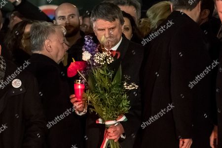 Speaker of the Hungarian Parliament Laszlo Kover (C) at the memorial to students who were attacked by riot police in 1989 on Narodni street, marking the 30th anniversary of the Velvet Revolution in Prague, Czech Republic, 17 November 2019. The Czech Republic celebrates the 30th anniversary of the Velvet Revolution commemorating the events of 17 November 1989, when after the brutal suppression of a student demonstration at Narodni street, the communist leadership soon crumbled and the playwright and human rights activist Vaclav Havel became president shortly thereafter.