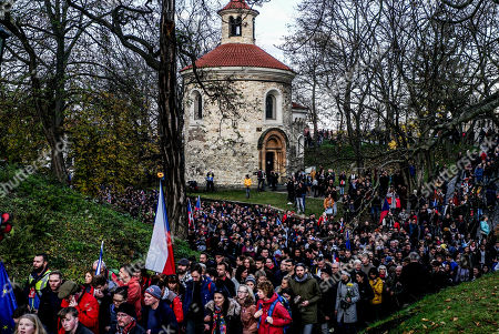People march during a reenactment of the 1989 protest on the 30th anniversary of the Velvet Revolution in Prague, Czech Republic, 17 November 2019. The Czech Republic celebrates the 30th anniversary of the Velvet Revolution commemorating the events of 17 November 1989, when after the brutal suppression of a student demonstration at Narodni street, the communist leadership soon crumbled and the playwright and human rights activist Vaclav Havel became president shortly thereafter.