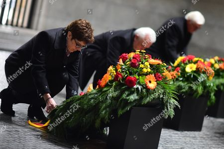(L-R) German Defense Minister Annegret Kramp-Karrenbauer, the Vice President of the German Parliament Wolfgang Kubicki, German President Frank-Walter Steinmeier during a wreath laying ceremony at the memorial site 'Neue Wache' (New Guardhouse) to commemorate the national day of mourning for the victims of war and dictatorship, in Berlin, Germany, 17 November 2019. The so-called 'Volkstrauertag' (lit.: People's Day of Mourning) is annually held in Germany two Sundays ahead of the first Advent day. It remembers and pays respect to all victims - civilans and soldiers - who died in wars, armed conflicts and under violent oppression.