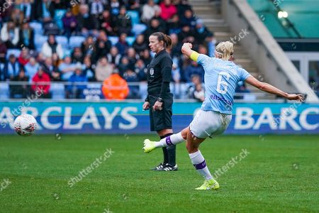 Manchester City Women defender Steph Houghton (captain) (6) takes a shot during the FA Women's Super League match between Manchester City Women and West Ham United Women at the Sport City Academy Stadium, Manchester