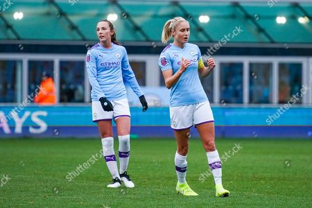 Manchester City Women defender Steph Houghton (captain) (6) reacts during the FA Women's Super League match between Manchester City Women and West Ham United Women at the Sport City Academy Stadium, Manchester