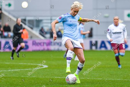Manchester City Women defender Steph Houghton (captain) (6) in action during the FA Women's Super League match between Manchester City Women and West Ham United Women at the Sport City Academy Stadium, Manchester