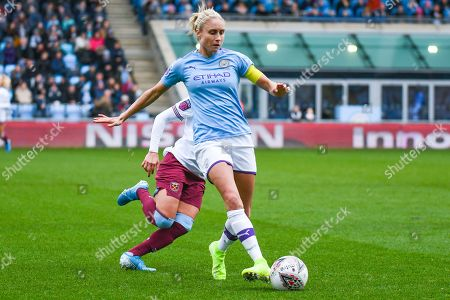 Manchester City Women defender Steph Houghton (captain) (6) passes the ball during the FA Women's Super League match between Manchester City Women and West Ham United Women at the Sport City Academy Stadium, Manchester
