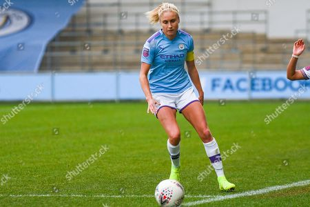 Stock Image of Manchester City Women defender Steph Houghton (captain) (6) in action during the FA Women's Super League match between Manchester City Women and West Ham United Women at the Sport City Academy Stadium, Manchester