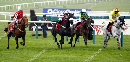 Defi Du Seuil and Barry Geraghty [green colours] wins the Shloer Chase at Cheltenham from Poltologue [yellow colours] , Saint Calvados [white/blue colours] and Simply Ned [red colours].
