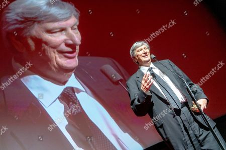 Stock Photo of American film director and cinematographer John Bailey speaks during the closing gala of the 27th edition of the EnergaCamerimage Festival, in Torun, Poland, 16 Noveber 2019 (issued 17 November 2019). Baily was honored with a lifetime achievement award. The film festival ran from 09 to 16 November 2019.