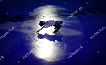 Japan's Shoma Uno performs during the exhibition gala at the Rostelekom Cup ISU Grand Prix of figure skating event, in Moscow, Russia