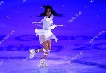 Stock Image of Russia's Evgenia Medvedeva performs during the exhibition gala at the Rostelekom Cup ISU Grand Prix of figure skating event, in Moscow, Russia