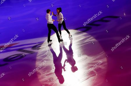 Stock Image of Spain's Sara Hurtado and Kirill Khaliavin perform during the exhibition gala at the Rostelekom Cup ISU Grand Prix of figure skating event, in Moscow, Russia