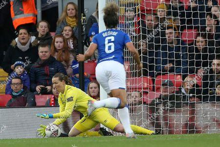 Everton women goalkeeper Tinja-Riikka Korpela (23) gets down to gather the low shot during the FA Women's Super League match between Liverpool Women and Everton Women at Anfield, Liverpool