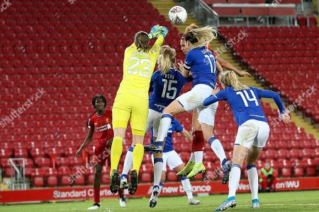 Everton women goalkeeper Tinja-Riikka Korpela (23) punches clear in added time during the FA Women's Super League match between Liverpool Women and Everton Women at Anfield, Liverpool