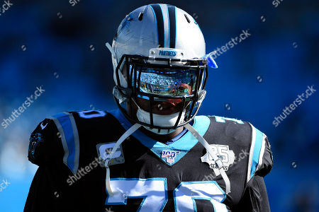 Carolina Panthers offensive guard Trai Turner (70) takes the field during the first half of an NFL football game against the Atlanta Falcons in Charlotte, N.C