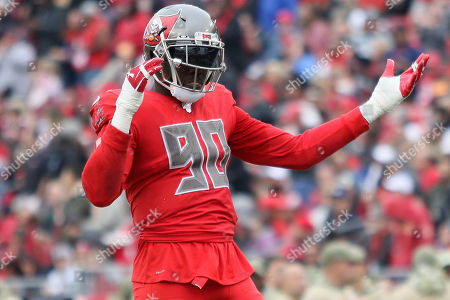 Stock Picture of Tampa Bay Buccaneers linebacker Jason Pierre-Paul (90) motions to the crowd during the NFL game between the New Orleans Saints and the Tampa Bay Buccaneers held at Raymond James Stadium in Tampa, Florida. Andrew J