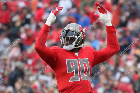 Tampa Bay Buccaneers linebacker Jason Pierre-Paul (90) motions to the crowd during the NFL game between the New Orleans Saints and the Tampa Bay Buccaneers held at Raymond James Stadium in Tampa, Florida. Andrew J