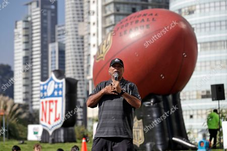 Former Cincinnati Bengals player Anthony Munoz speaks during the NFL PLAY 60 event, in Mexico City. The Los Angeles Chargers face the Kansas City Chiefs in a Monday Night Football game in Mexico City Nov. 18