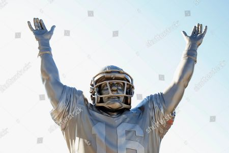 A statue of Joe Montana is shown at Levi's Stadium before an NFL football game between the San Francisco 49ers and the Arizona Cardinals in Santa Clara, Calif