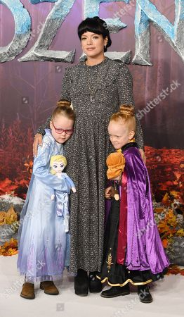Lily Allen (C) and her daughters Marnie Rose Cooper and Ethel Cooper pose for photographers at the European premiere of 'Frozen 2' in London, Britain, 17 November 2019. The animated movie sequel opens in British theaters on 22 November.