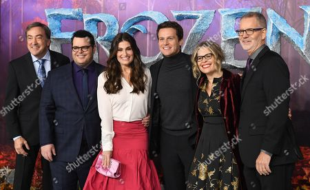 Peter Del Vecho, US actor Josh Gad, US actor Idina Menzel, US actor Jonathan Groff, US director Jennifer Lee and US director Chris Buck pose for photographers during the European premiere of 'Frozen 2' in London, Britain, 17 November 2019. The animated movie sequel opens in British theaters on 22 November.