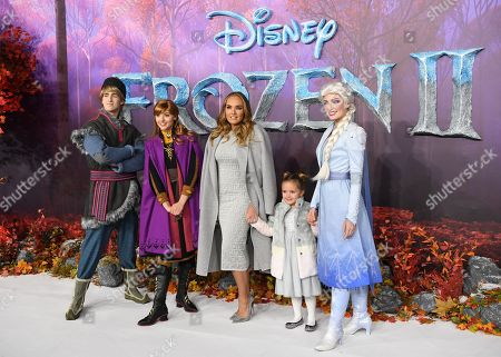 British model and socialite Tamara Ecclestone (C) and her daughter Sophia Ecclestone-Rutland (2-R) pose for photographers with characters from the animated movie at the European premiere of 'Frozen 2' in London, Britain, 17 November 2019. The movie sequel opens in British theaters on 22 November.