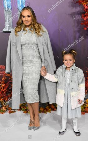 British model and socialite Tamara Ecclestone and her daughter Sophia Ecclestone-Rutland pose for photographers at the European premiere of 'Frozen 2' in London, Britain, 17 November 2019. The animated movie sequel opens in British theaters on 22 November.
