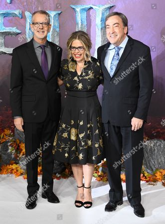 Chris Buck, US film director Jennifer Lee and US film producer Peter Del Vecho pose for photographers at the European premiere of 'Frozen 2' in London, Britain, 17 November 2019. The movie sequel opens in British theaters on 22 November.
