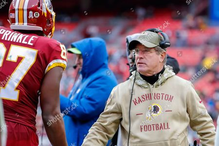 Washington Redskins interim head coach Bill Callahan during the second half of the NFL American football game between the New York Jets and the Washington Redskins at FedEx Field in Landover, Maryland, USA, 17 November 2019.