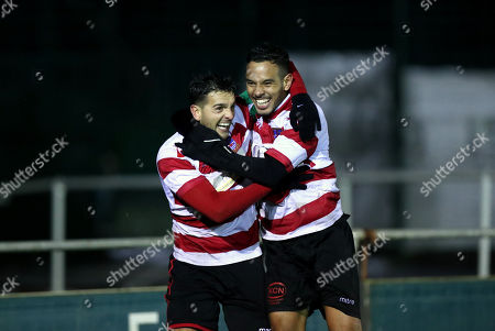 Stock Image of Tom Kavanagh of Kingstonian (left) and Dan Bennett of Kingstonian (right) celebrate the opening goal during Blackfield & Langley vs Kingstonian, Buildbase FA Trophy Football at Newlands Road on 13th November 2019