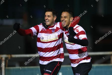 Tom Kavanagh of Kingstonian (left) and Dan Bennett of Kingstonian (right) celebrate the opening goal during Blackfield & Langley vs Kingstonian, Buildbase FA Trophy Football at Newlands Road on 13th November 2019