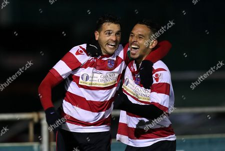Stock Photo of Tom Kavanagh of Kingstonian (left) and Dan Bennett of Kingstonian (right) celebrate the opening goal during Blackfield & Langley vs Kingstonian, Buildbase FA Trophy Football at Newlands Road on 13th November 2019
