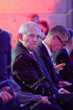 Stock Picture of President of the German Bundestag, Wolfgang Schauble during the 30th Anniversary of Velvet Revolution at the National Museum.