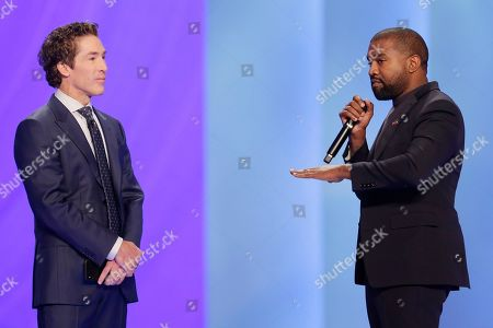 Kanye West, left, answers questions from Sr. pastor Joel Osteen, right, during the 11 am service at Lakewood Church, in Houston