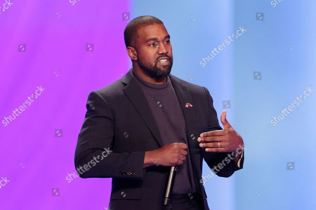Kanye West, answers questions from Sr. pastor Joel Osteen, during the 11 am service at Lakewood Church, in Houston