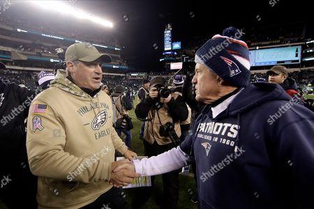 Doug Pederson, Bill Belichick. New England Patriots head coach Bill Belichick, right, and Philadelphia Eagles head coach Doug Pederson meet after an NFL football game, in Philadelphia. New England won 17-10