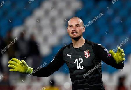 Serbia goalkeeper Predrag Rajkovic reacts during the Euro 2020 group B qualifying soccer match between Serbia and Ukraine, on the stadium Rajko Mitic in Belgrade, Serbia