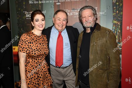"""Marielle Heller, David Newell, Chris Cooper. Director Marielle Heller, from left, actor David Newell, who played Mr. McFeely in the original """"Mister Rogers' Neighborhood,"""" and actor Chris Cooper pose together at a special screening of """"A Beautiful Day In The Neighborhood"""" at the Henry R. Luce Auditorium, in New York"""