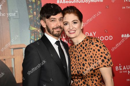 """Jorma Taccone, Marielle Heller. Director Marielle Heller, right, poses with husband Jorma Taccone at a special screening of """"A Beautiful Day In The Neighborhood"""" at the Henry R. Luce Auditorium, in New York"""